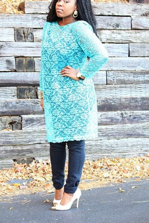aquamarine lace thrifted dress - Target jeans - Shoe Dazzle heels