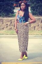 bustier asos top - leopard thrifted skirt - neon Shoedazzle heels