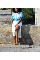 light blue jersey thrifted shirt - cream asos skirt - Aldo pumps