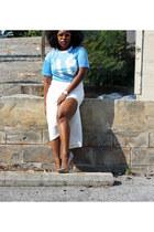light blue jersey thrifted shirt - cream asos skirt - Aldo pumps