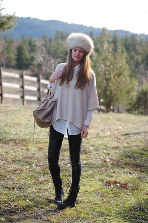 H&M sweater - vintage hat - H&M leggings - balenciaga bag
