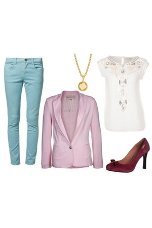 light pink best mountain blazer - aquamarine Mazine jeans - ruby red Gaudi pumps
