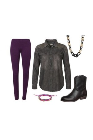 bronx boots - deep purple anna field leggings - Lee shirt