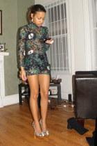 green Charlotte Russe dress - gold Steve Madden shoes
