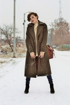 army green wool polyester Sheinsidecom coat - black leather Mono Shoes boots