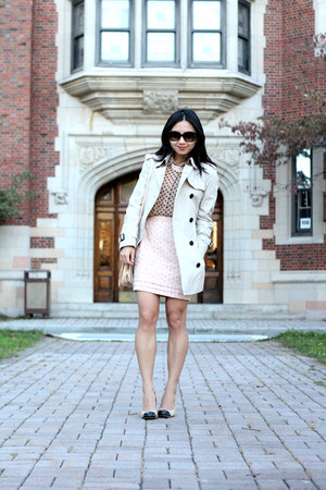 Loft necklace - Burberry coat - kate spade sunglasses - Forever 21 top