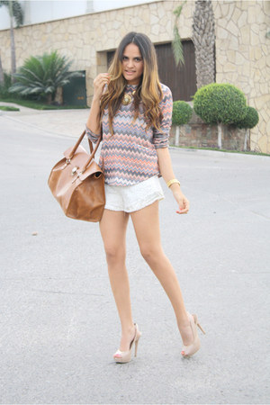 pink missoni pattern pull&bear sweater - tawny big LOB bag