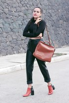 black leather pull&bear pants - burnt orange Zara boots