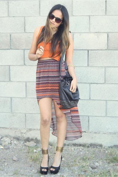 orange crop Bershka top - black black Zara bag - brown asymmetric Zara skirt