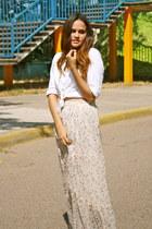 beige maxi custom skirt - white white Aeropostale blouse
