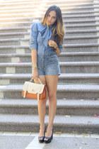 blue bow tie LOB blouse - black peep toe LOB shoes - tawny sachtel Shasa bag