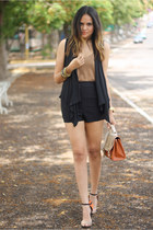 black loose Forever 21 vest - light brown scalloped Pull & Bear top