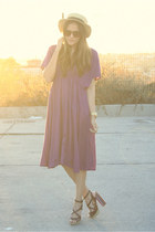 amethyst mid long Zara dress - dark brown striped naughty monkey shoes