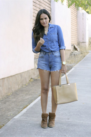 navy denim vintage shorts - dark khaki romwe bag