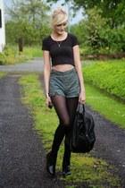 black Dr Martens boots - black Primark bag - dark green shorts