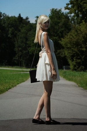black shoes - beige Romwecom dress - black Choies bag