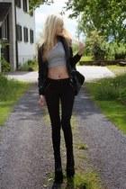 gray Zara jeans - silver Topshop top