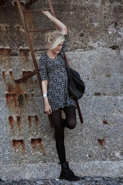 black Dr Martens boots - gray Primark dress