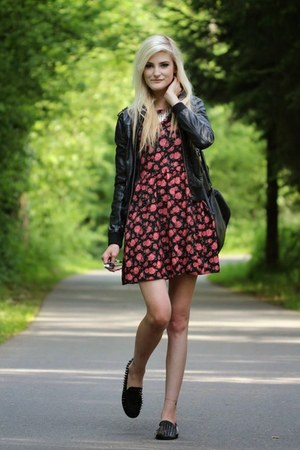 brick red dress - black loafers