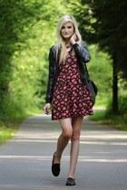 brick red dress - black loafers
