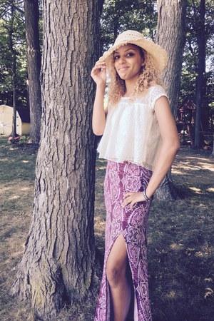 magenta maxi skirt Charlotte Russe skirt - beige thrifted hat