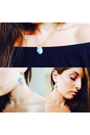 sky blue crystal druzy Feathers and Glamour earrings