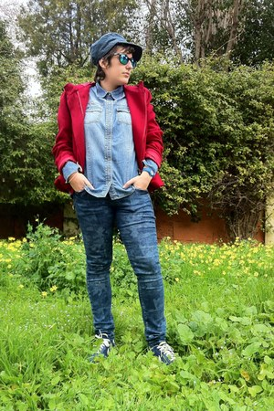 ruby red Pinky jacket - blue Bershka jeans - sky blue oltre shirt