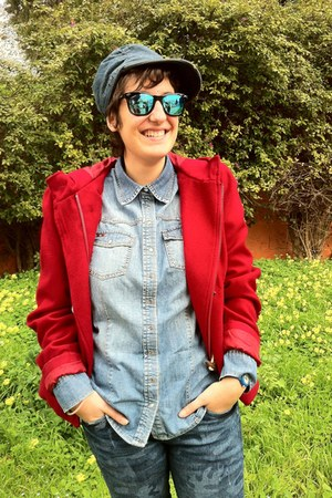 blue Bershka jeans - ruby red Pinky jacket - sky blue oltre shirt