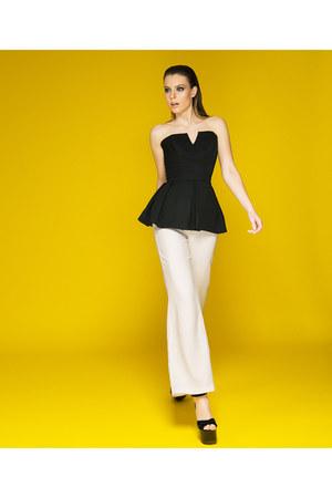 white Mademoiselle Epaulette pants - black Mademoiselle Epaulette top