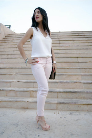 white tacks Zara shirt - light pink Mango jeans - light pink Zara heels
