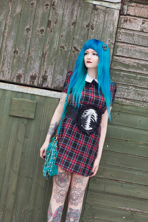 tartan Primark dress - teal iron fist bag - skeleton  bones Restylepl belt