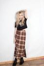 Black-crop-top-fulwood-london-top-dark-brown-maxi-skirt-unif-skirt