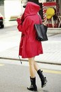 Black-buckle-aldo-boots-red-parka-urban-weather-coat