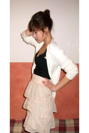 beige Zara skirt - white vintage cardigan - black H&M top