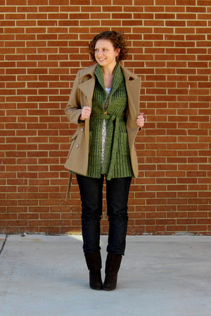 thrifted org old navy coat - consignment sweater - Target blouse - Lee Kohls jea