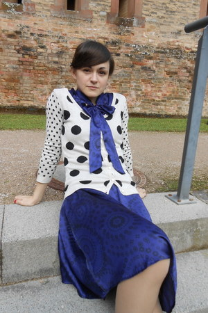 purple silk dept dress - ivory polkadot knit Orsay cardigan