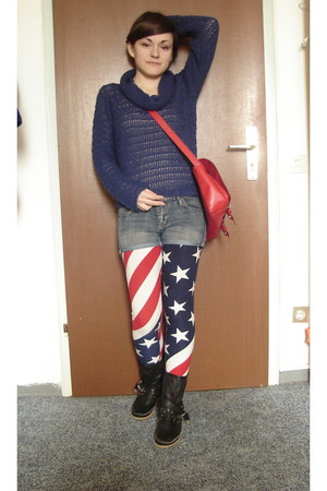blue H&M sweater - red leggings - white leggings - blue leggings - red H&M bag