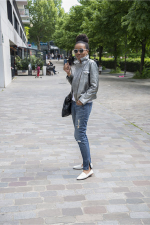 Zara shoes - SANDRO coat - Zara jeans - rayban glasses