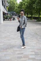 Zara shoes - SANDRO coat - Zara jeans - rayban glasses