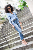 asos jeans - APC shirt - DIY bag - vintage necklace - Zara sandals