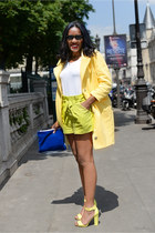 yellow asos coat - chartreuse vintage shorts - white American Apparel t-shirt