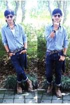 light brown Levis boots - blue Converse shirt - dark brown Ray Ban sunglasses