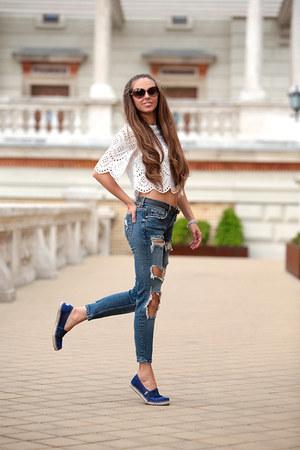 Zara top - Zara jeans - TOMS flats