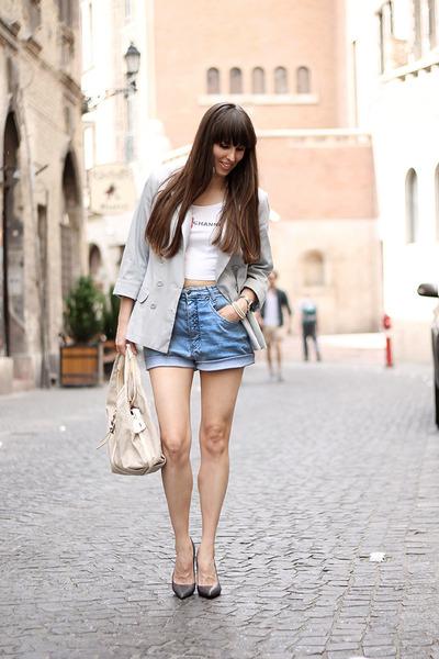 F&F jacket - vintage shorts - FESTYshop t-shirt - Zara heels