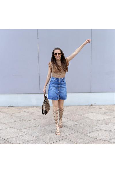 Csillag Zsuzsi top - Gucci bag - Zara sandals - H&M skirt