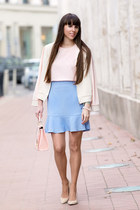 Magenta jacket - F&F bag - F&F top - F&F skirt - Stradivarius heels