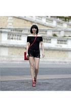 Mango shorts - Guess bag - Mango heels - H&M top