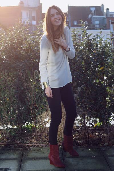 Zara wedges - april 77 jeans - Zara blouse