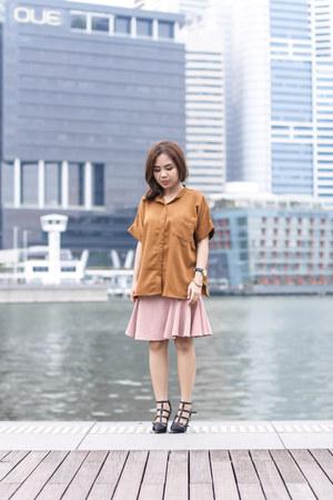 black tory burch shoes - brown ats the label shirt - pink handmade skirt