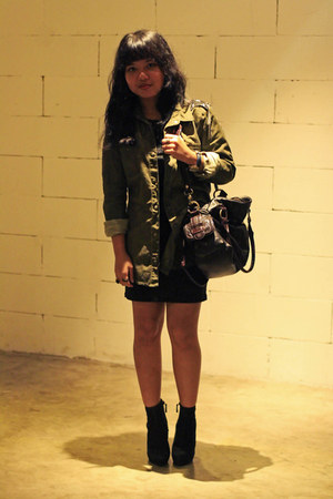 olive green Zara jacket - dark gray dress - black Zara boots - dark brown jasper